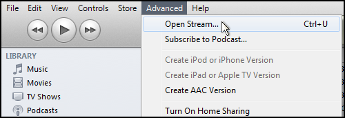 How to Open a Stream URL in iTunes (as of iTunes 10.7)